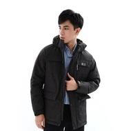 【遊遍天下】男款GlobeTex防水防風禦寒中長版羽絨外套 23021 黑灰(L-5L)