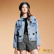 【MON'S】蝙蝠貓刺繡造型牛仔外套
