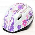 VR-1 兒童自行車安全帽(白底紫花),白色