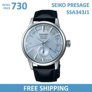 Seiko Presage Automatic SSA343J1 Men's Watch Blue Dial Black Leather Strap Made in Japan SSA343J SSA343 Cocktail Time