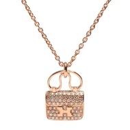 【HERMES】Constance系列經典H LOGO真鑽鑲嵌手提包造型墜飾玫瑰金項鍊(H109615B-ROSE GOLD)