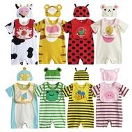 動物造型連身衣 套裝 圍兜 帽子 連身衣 短袖 造型服 男寶寶 女寶寶 3件套 31271(好窩生活節)
