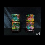 【先盈藝術】台灣奇彩玉(節節高昇竹節瓶對瓶)