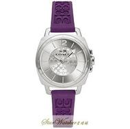COACH手錶時尚精品錶 COACH BOYFRIEND SMALL款,編號:14502091,銀白色錶面紫色橡膠錶帶款
