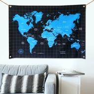 世界地圖 掛布 壁幔 文青方格玩色