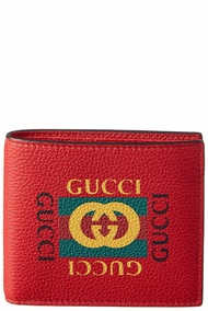 Gucci Mens  Logo Print Leather Bifold Coin Wallet