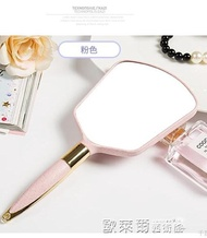 化妝鏡 高清手柄化妝鏡手拿美容院化妝鏡子便攜隨身牙科復古花邊單面小鏡 歐萊爾藝術館