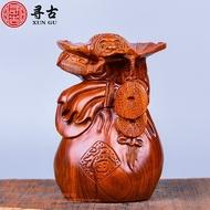 花梨木雕蝙蝠福袋擺紅木實木雕刻擺件收藏送禮實木雕刻工藝品