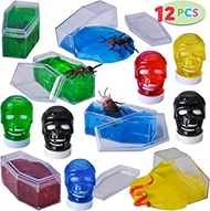 12 Halloween Jelly Putty Clear Slime – Fake Cockroaches, Worms, and more insects for Halloween Goody Bag Filler, Party Favor Supply Decoration. Non-Toxic.
