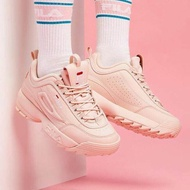 Pink FILA Disruptor II generation serrated thick bottom women sports shoes
