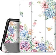 Hi Space iPad Case for iPad 10.2 8th/7th Generation & 10.5 Air 3 & iPad Pro 10.5 with Pencil Holder, Cactus Succulent Cute Trifold Flower Slim Protective Smart Floral Cover Shockproof Auto Sleep Wake