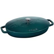 *DEYO德優 豐富生活*法國 史大伯 Staub 魚煎烤盤 33cm 海洋藍 LE MER 魚鍋 魚盤