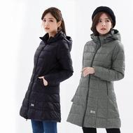 【遊遍天下】女款長版顯瘦防風防潑禦寒羽絨外套(L-3L)