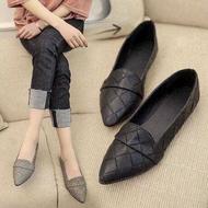 พร้อมส่ง] รองเท้าสคัชชูส้นเตี้ยผู้หญิง รองเท้าพื้นหนังนิ่ม รองเท้าใส่ทำงาน มีสีเทา/สีดำF043