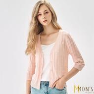 【MON'S】涼爽緹花格紋針織外套(一款三色)