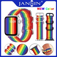 สายนาฬิกาข้อมือ Rainbow Nylon 38mm 40mm 42mm 44mm For Apple Watch Series 5 4 3 2 1 Bracelet Watch Strap