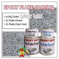 GREY MIX FLAKE • Epoxy Flake Coating Set • Refurnishing Floor • No Hacking • Waterproofing