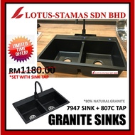 HIGH QUALITY 80% NATURAL GRANITE DOUBLE BOWL KITCHEN SINK SET WITH TAP BLACK COLOUR SORENTO RUBINE ITTO HCE