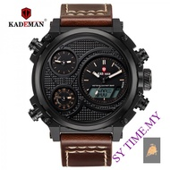 KADEMAN 156 Men's Multi-Functional Sports Watch Double Time Zone Oversized Dial Belt Quartz Watch