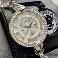 VERSUS VERSACE手錶,編號VV00201,36mm銀圓形精鋼錶殼,銀白立體雕刻錶面,銀色精鋼錶帶款