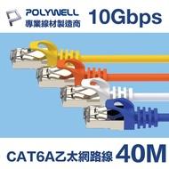 POLYWELL CAT6A 超高速乙太網路線 S/FTP 10Gbps 40M