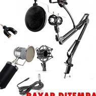 Paket lengkap Microphone BM 8000 FULL SET Recording kondenser mikrofon cover lagu