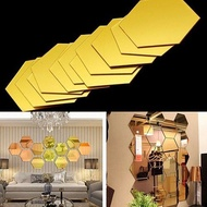 ^O^  Hexagonal Frame Three-dimensional Mirror Wall Sticker Aisle Decorative Mirror Sticker Living Room Background Wall