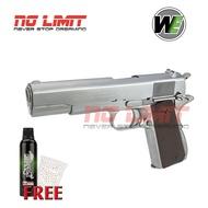 ปืนบีบีกัน ระบบอัดแก๊ส WE M1911A1 สีเงิน (Silver) แถมฟรีแก๊สไต้หวัน + ลูกกระสุน 500 นัด Made in Taiwan สินค้าใหม่ สินค้าได้ตามภาพ ถ่ายจากสินค้าจริง มีอะไหล่รองรับ
