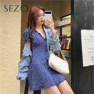 Sezo ผู้หญิงเอวลดความอ้วนคอวีอารมณ์ย้อนยุคฟองชุดแขนสั้น