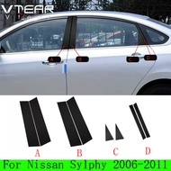 Vtear For NISSAN Sylphy / SENTRA 2006-2021 8pcs PVC material pillar decorative sticker Glossy black trim anti scratch mirror surface cover accessories