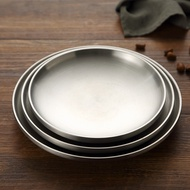 onlycook 家用雙層隔熱304不銹鋼盤子圓盤平底餐盤菜碟子平盤燒烤