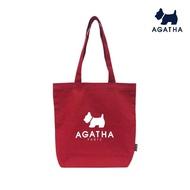 【AGATHA】純色肩背 手提 大LOGO 帆布包(環保實用帆布包)
