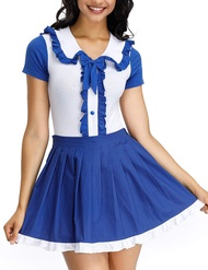 Women's Adult Baby Diaper Lover Onesie Snap Crotch Romper with Skirt Sailor Cosplay Set