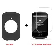 for Garmin Edge 530 Case, Lamshaw Silicone Case with Tempered Glass Screen Protector (2 Pack) for Garmin Edge 530