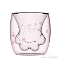 星巴克同款粉色櫻花貓咪貓爪雙層透明玻璃杯 現貨在台供應對岸搶瘋櫻花貓爪杯櫻花杯 抖音網紅咖啡杯牛奶杯茶水杯馬克杯隔熱杯子
