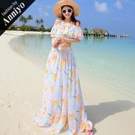 【Anniyo安妞】一字領荷葉領露肩短袖波希米亞上衣+長裙沙灘裙度假長洋裝套裝套裙裙裝 水藍向日葵