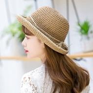【HaNA 梨花】韓國氣質仙女簡約繫繩拉菲草遮陽帽草帽