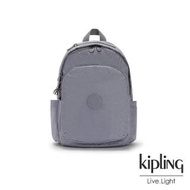 【KIPLING】光澤霧灰紫迷彩上方拉鍊後背包-DELIA