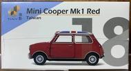 ☆勳寶玩具舖【現貨】TINY 城市 18 谷巴 Mini Cooper 紅色 英國旗頂及白色引擎蓋條紋 (台灣) (左駕)