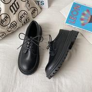 OhBlablaShoes พร้อมส่ง รองเท้าคัชชู/เชือก หนังด้าน (F16) สีดำ