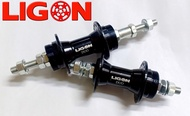 FRONT AND REAR HUB NUT TYPE DUO SEALED BEARING LIGON DUO BLACK 36 holes  (  BAND BRAKE AND THREAD TYPE DISC BRAKE COMPATIBLE )