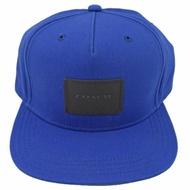 COACH 經典烙印皮革LOGO帆布棒球帽/鴨舌帽(寶藍)