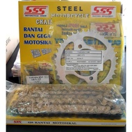 SSS MOTORCYCLE CHAIN 428×120L & STEEL SPROCKET YAMAHA RXZ (ORIGINAL)