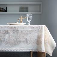 【meiwa】日本明和蕾絲燙金防水桌巾-小梅花 132x175CM(桌巾/餐桌巾/桌布/桌墊)