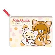 拉拉熊 帆布 扁平筆袋/化妝袋/收納袋 懶懶熊 日貨 正版授權J00012591