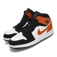 -[TellCathy 7]Air Jordan 1代 Mid GS 女鞋 休閒鞋 黑頭 小破碎 喬丹 AJ1 黑 橘 554725-058