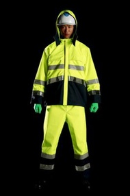 雨衣 M8920高視認性雨衣 上下 蛍光イエロ− ELサイズ