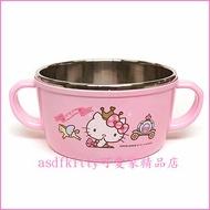 asdfkitty可愛家☆KITTY皇冠防燙304不鏽鋼有把手鋼碗/湯杯/湯碗-韓國正版商品