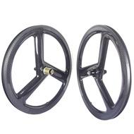 Tri Spoke 451 Carbon wheels 20 Inch Folding Bike Carbon Wheelset Clincher Rim brake 9 10 11 speed