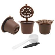 3Pcsรีฟิลนำกลับมาใช้ซ้ำได้แคปซูลกาแฟสำหรับเครื่องทำกาแฟเนสเพรสโซพร้อมแปรงช้อน